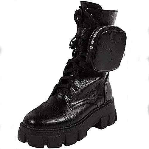 Wedge Hak Kleine Tas Schoenen Dames Enkellaarzen Scrub Blok Schoenen Dames Dikt Motorfiets Laarzen Dames Martin Laarzen Ronde Teen Knight Boots-37 i_Zwart Baifantastic