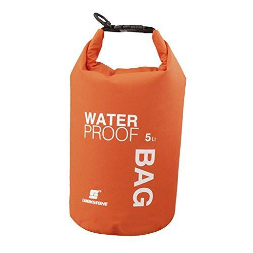 5L Bolsa de Deporte Al Aire Libre Bolsa Impermeable a Prueba de Agua Naranja