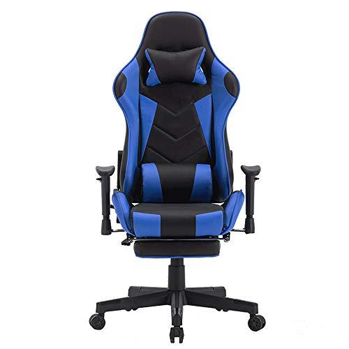 PIG-GIRL Ergonomische Gaming Chair, Home Office Spiel Stuhl, Liege- und bequemen PU-Leder-Computer Stuhl mit Pedalen, Video Game Chair,Blau