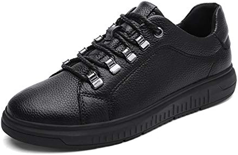 Men's Leather shoes, Fashion Deck shoes Sports shoes Academy Low-top Casual shoes Outdoor Hiking shoes Black YAN (color   Black, Size   46)