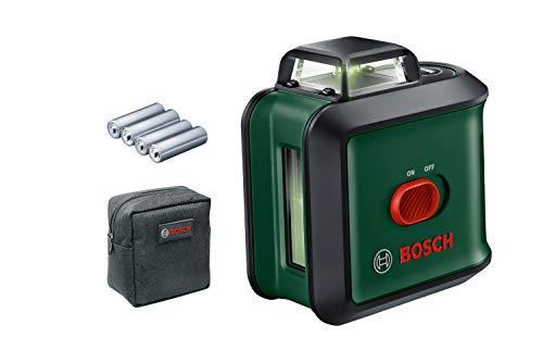Bosch Home and Garden Kreuzlinienlaser UniversalLevel 360 (grüner Laser, Arbeitsbereich: bis zu 24 m, Genauigkeit: ± 0,4 mm/m, selbstnivellierend: bis ± 4°, 4x AA-Batterien, im Karton)