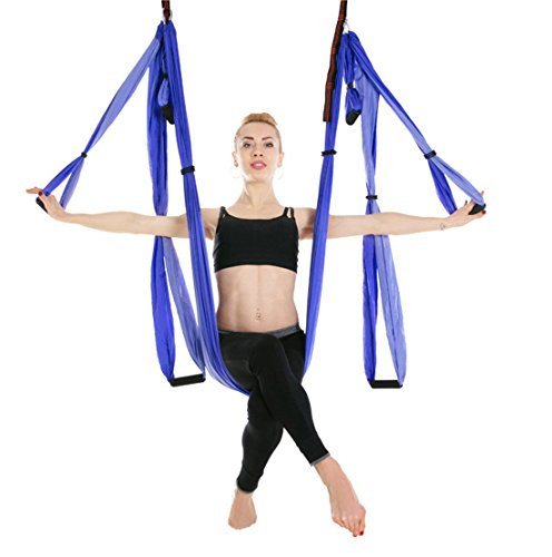 Ranbo Aerial Yoga Trapeze Set Ultra Strong Antigravity Yoga Swing/Hammock Holds Up to 400 Pounds for Inversion Exercises Pilate Fitness Flexibility Core Strength Weight Loss