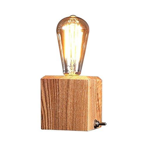 Desinger Tiny Box Tischlampe Leselampe Schreibtischlampe Schlafzimmer Bett Massivholz Einfache Moderne Ideen Retro Wolfram Glühbirne Dimmen Cube Kleine Schreibtischleuchte Desktop Light Tischleuchte