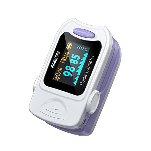 Oxímetro de Pulso, CocoBear Pulsioxímetro con Pantalla OLED, Oxímetro con función de alarma, operación simple de un toque,Oxímetro de dedo para medir la saturación de oxígeno en la sangre (Sp02)