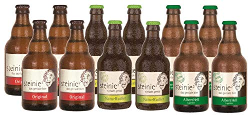 Steinie Mischbox I Bier aus Franken I Pils, Hell und Radler I 12 Flaschen je 0,33Ltr incl Pfand