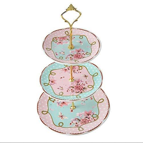 BINGFANG-W Placas Vajilla Europea cerámica de la Fruta Placa Sala Inicio té de la Tarde Snack-Estante del Vidrio de la Torta de Tres Capas de la Placa 1 Pieza Cocina