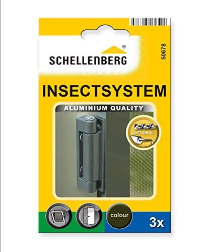 Schellenberg 50678 Alu-Scharniere für Insektenschutz-Fenster und -Türen, 3 Stück, 25/32