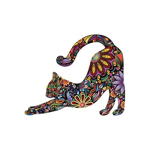 Pegatina de pared de gato, diseño de mandala colorido único, diseño de flores, calcomanías (1 pieza, tamaño grande)