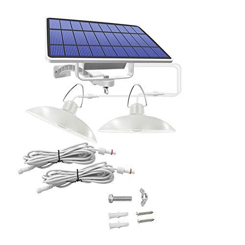 Lámpara colgante solar impermeable inalámbrico doble cabeza con iluminación blanca Navidad para jardín camping LED luces de garaje