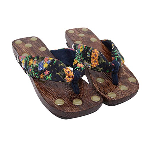 Exceart Traditionele Japanse Sandalen Japanse Klompen Slippers Casual Slippers Zomer Strand Sandalen Voor Vrouwen (Zwart Maat 36)