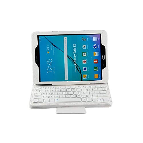 Xixihaha Portable Keyboard Case For Galaxy Tab S2 9.7 T810 Wireless Bluetooth Keyboard Case Tablet Flip Leather Stand Cover (Color : White)