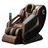 Cadeira de massagem, reclinável de corpo inteiro sem gravidade com controle de voz AI, chave de atalho de corrimão, SL Track, Bluetooth, alongamento de ioga, rolos de pés, airbags, aquecimento (marrom)
