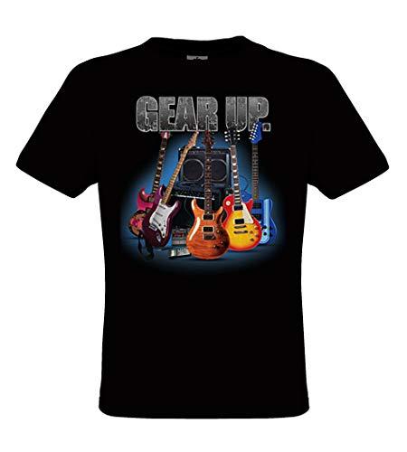 DarkArt-Designs Lifestyle T-Shirt Gear Up Guitar - Guitare T-Shirt pour Messieurs - Motif de Plaisir Regular fit, Noir, S