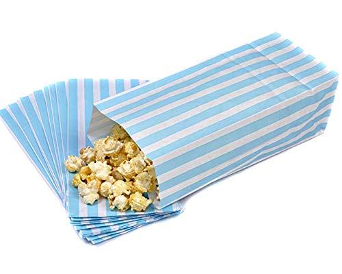 50 Light Blue & White Pick n Mix Candy Stripe Paper Sweet / Party / Popcorn Bags 4 x 9.5 x 3 by Bag It Plastics