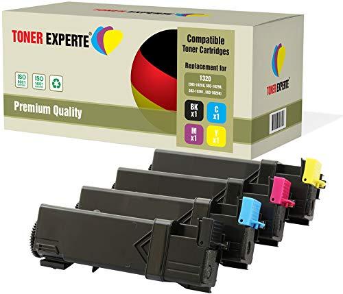 Set of 4 TONER EXPERTE Compatible with 593-10258 593-10259 593-10261 593-10260 Premium Toner Cartridges for Dell 1320c, 1320cn
