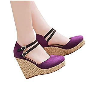 Espadrilles for Women Wedge Closed Toe,Womens Summer Espadrille Heel Platform Wedge Sandals Ankle Buckle Strap Closed Toe Shoes Purple
