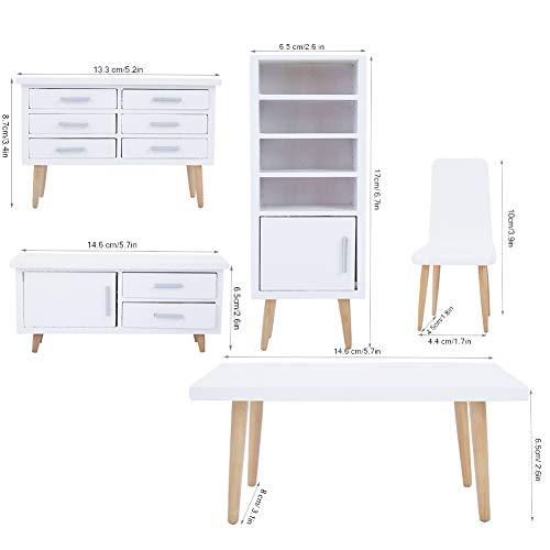 Camidy Mini Holzmöbel Set für 1:12 Miniatur Puppenhaus 6 Stück Stuhl Schrank Tisch Modell für Puppenhaus Szene Wohnzimmer Esszimmer Dekor