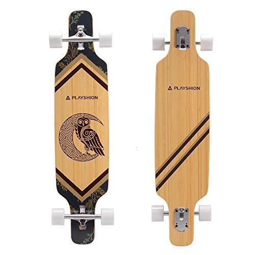 PLAYSHION Longboard da 39 pollici, con cuscinetti a sfera ABEC-9, Drop-Through Freeride Skateboards Cruiser