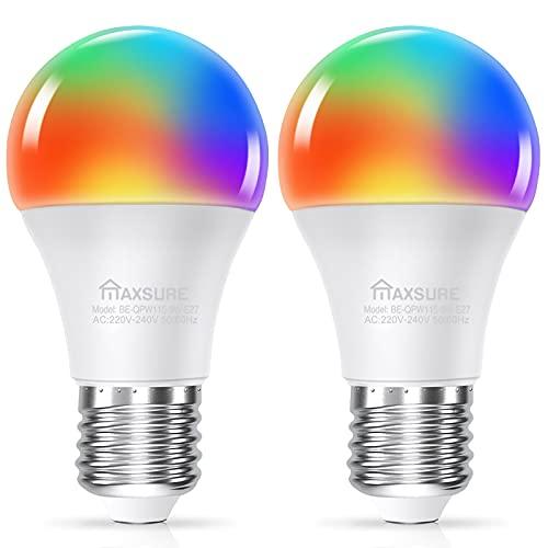 Maxsure Lampadina Smart, 9W A60 E27 Lampadina Alexa 810LM, Lampadina WiFi Intelligente con Alexa e Google Home, APP e controllo Vocale, 2700K-6500K Lampadina LED E27 (2 Pezzi)