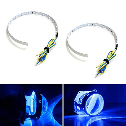 iJDMTOY Ultra Blue 15-SMD High Power LED Demon Eye Halo Ring Kit Compatible With Car Motorcycle Headlight Projectors or Aftermarket 2.5 2.8 3.0 Inch Retrofit Projector Lens