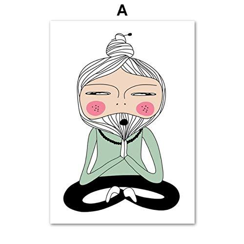 W15Y8 Lotus Yoga Pose Meditación Maestro Arte Lienzo Pintura Cartel Nórdico Sala De Estar Decoración Del Hogar Impresión En Lienzo-50X70Cm Sin Marco