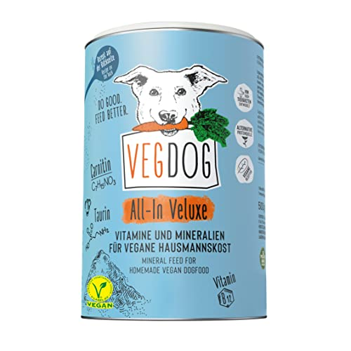 VEGDOG All-IN-VELUXE Nahrungsergänzung für Hunde veganer Hundefutter Zusatz, 500 gr, hypoallergene & ergänzendes Mineralpulver, Vitamine für Allergiker