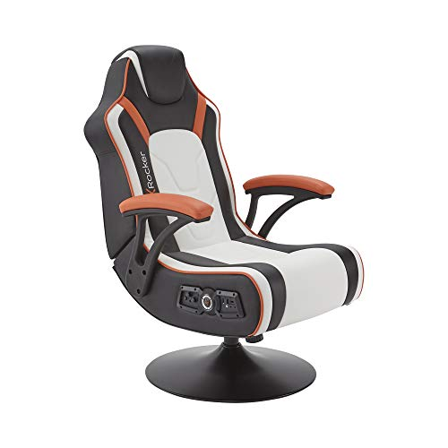 X-Rocker Torque 2.1 Gaming Chair with Speakers and Subwoofer, Wireless and Bluetooth Audio with Vibration for PS4, Xbox & Switch, Ergonomic Seat, PU Leather, Black/White/Orange