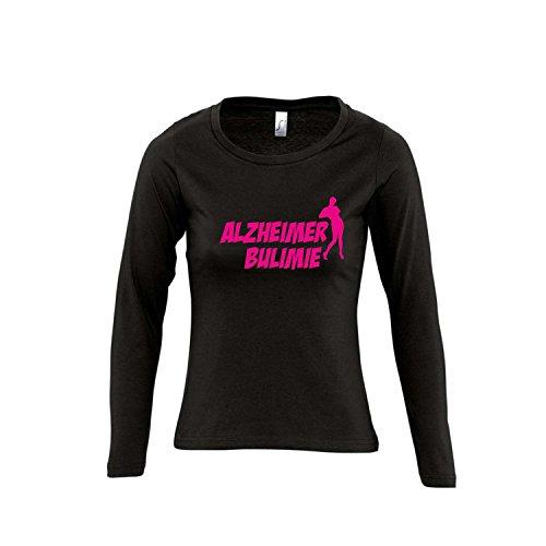 ALZHEIMER BULIMIE - FUN KULT SHIRT - Damen Langarm Longsleeve T-Shirt S-XL , Deep black - pink , XL