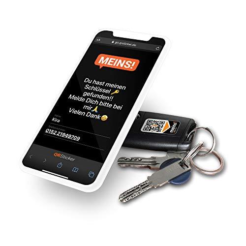 QRSticker 18x Meins! Gegenstände Personalisieren. Aufkleber mit dynamischen QR-Code und kostenloser Handy-App zum Finden verlorener Wertgegenstände wie Schlüssel, Handy, Drohnen Inhaber Aufkleber