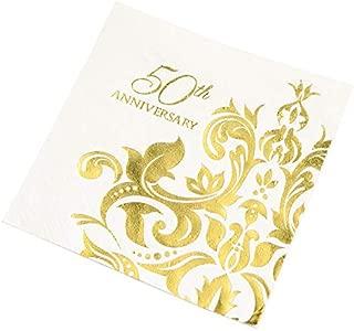 Crisky 50th Wedding Anniversaray Cocktail Napkins, [ Gold Foil More Shiny More Elegant ] Golden Wedding Anniversary Beverage Napkins, 50th Wedding Anniversary Party Decorations 100 Pcs, 3-ply