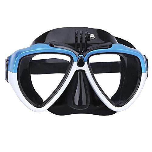 MxZas Snorkeling Maschera Subacquea Set Silicone Vetro con Staccabile Montaggio Telecamera Subacquea Scuba Snorkel Occhialini da Nuoto Multicolore Opzionale (Colore: Nero, Size: Un Formato) Jzx-n