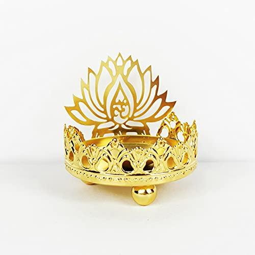 JSSS Maitreya Buda Sentado Buda Lotus Lotus Características Indias Metal Hueco Luz Tallada Y Sombra Arte Candlestick Buddha Estatua Candlestick Proyección Lámpara B