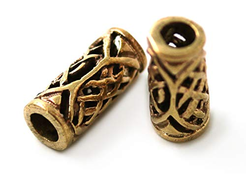 Bronze Norse Viking Celtic Beard Beads Rings, Dwarven Dreadlock Pirate Medieval Hair Beads, Pagan Jewelry