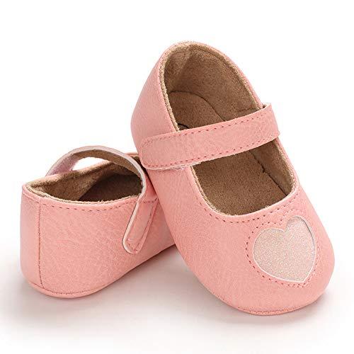 Matte Keely Weiche Sohle Baby Mädchen Kinderwagen Schuhe Prewalker Lauflernschuhe Mädchen Süße Krippe Schuhe für Kleinkind Prinzessin Pre Walker, Pink - rosa herz - Größe: 12-18 Monate