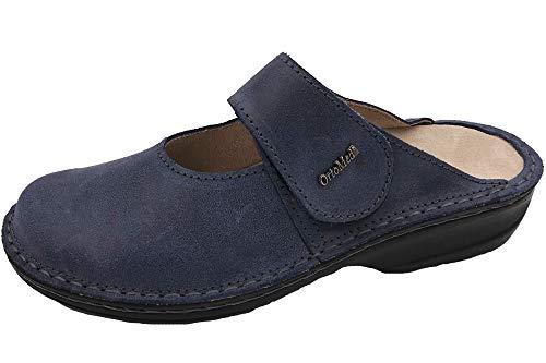 OrtoMed Damen Leder Pantolette Blau Clogs Schuhe lose Einlage, EU 40