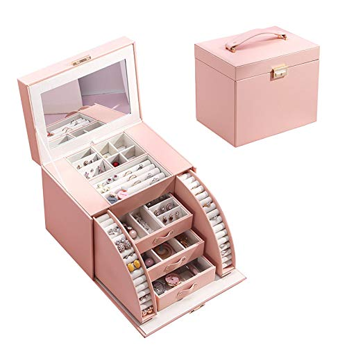 Large Jewellery Box, Jewelry Storage Case with 5 drawers and mirror PU Leather Jewelry Organizer 4 Layers For Rings, Bracelets, Earrings, Necklaces, Female Gift