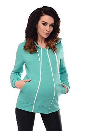 Purpless Damen 3in1 Vor Während und Nach Umstands Kaputzenpulli Still-Pullover mit Kaputz Umstandskleidung Stillmode 9053 (42, Mint)