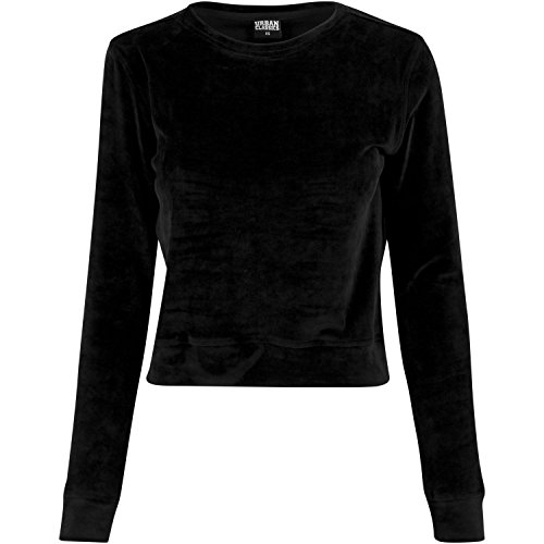 Urban Classics TB1352 Damen Sweatshirt Ladies Short Velvet Crew Schwarz (Black 7), Medium
