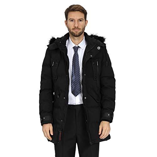 WEEN CHARM Men's Warm Parka Jacket Anorak Jacket Winter Coat with Detachable Hood Faux-Fur Trim (Black-8823, L)