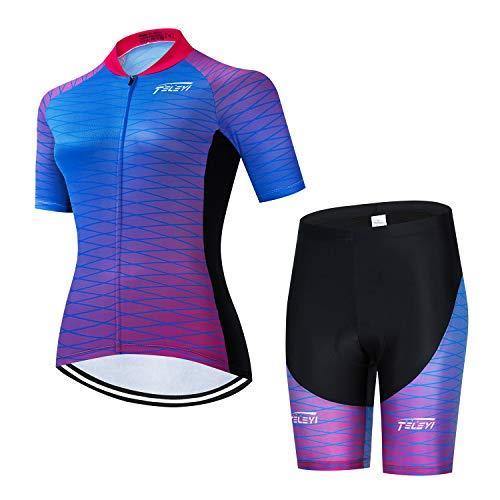 weimostar Fahrradtrikot für Damen, kurzärmelig, Mountainbike, Damen, Fahrrad-Shirt, atmungsaktiv, schnell trocknend