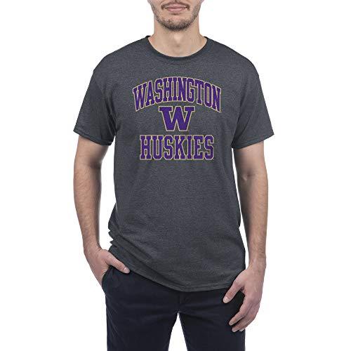 Elite Fan Shop NCAA Washington Huskies Mens Short Sleeve T-shirt Charcoal Gray Arch, Washington Huskies Dark Heather, XX-Large
