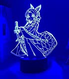 Lámpara de noche 3D anime ilusión lámpara 3D Demon Slayer Kocho Kanae luz para decoración de dormitorio niños regalo de cumpleaños manga kocho kanae lámpara kimetsu no yaiba
