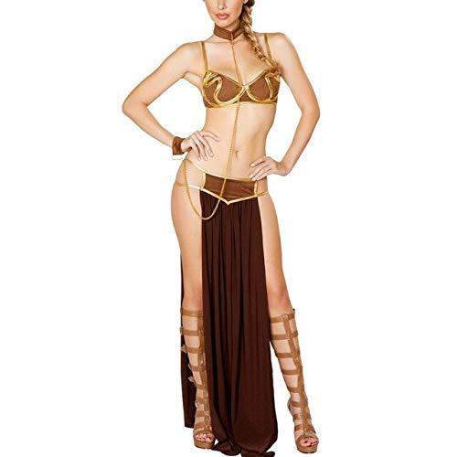 EQWR Star Wars Sexy Kostüme Prinzessin Leia Cosplay 4 STÜCKE Set Karneval Party Vestidos Frauen Slave Bh + rock + höschen Schwarz C42652AC XXL Braun