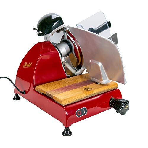 Palatina Werkstatt ® / Berkel Red Line 250 | Allesschneider/Aufschnittmachine | rot | + handgefertigtes Fassholzbrett aus alten Weinfässern Modell: 2021 | VK:1148,-€
