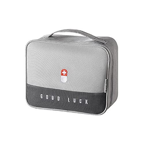 N\A Bolsa de medicina para el hogar con tela gruesa de gran capacidad, bolsa de almacenamiento portátil, caja de medicina multifuncional en capas (gris)