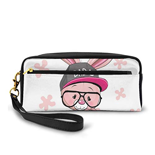 Pencil Case Pen Bag Pouch Stationary,Bunny Boy with Big Glasses and Cap with The Print of Bad Heart Shaped Eyes,Small Makeup Bag Coin Purse