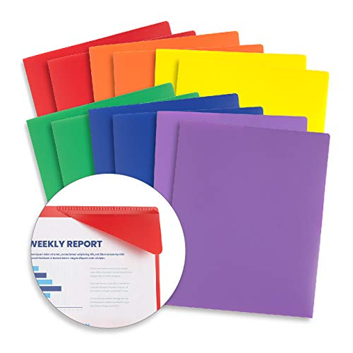 Blue Summit Supplies Plastic Folders with Pockets, Reinforced Corners, Durable 2 Pocket Folder with Corner Flaps Inside to Hold Papers in Place, Assorted Colors, 12 Pack