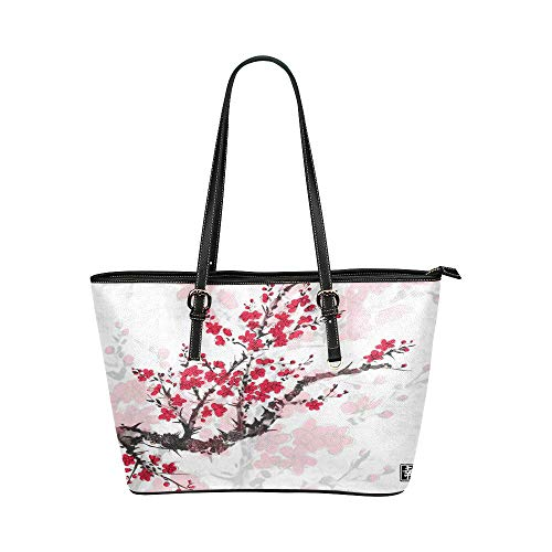 InterestPrint Oriental Cherry Blossom Painting Leather Tote Handbag Daily Bag with Zipper for Women