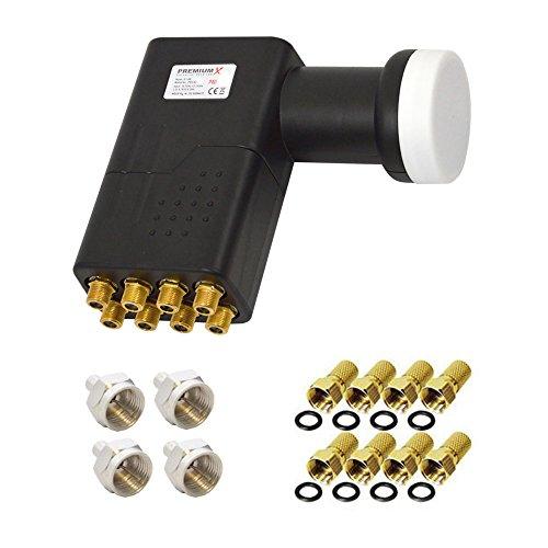 PremiumX HDTV SAT Direkt-Anschluss-Set für 8 Teilnehmer/Receiver Digital Octo LNB 8X F-Stecker Dichtring 4X F-Abschlusswiderstand HD Sky UHD 4K