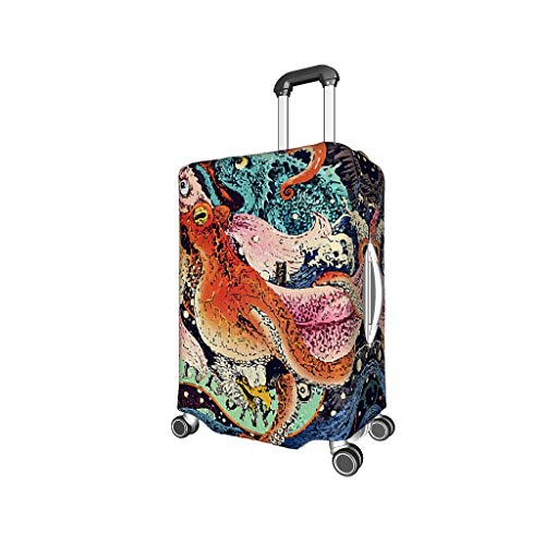 Octopus, Whale, Fish, Illustration Funny Various Types Luggage Covers Elasticity 18 to 32 Inch for Carry On Luggage Illustration White m (22-24 inch)